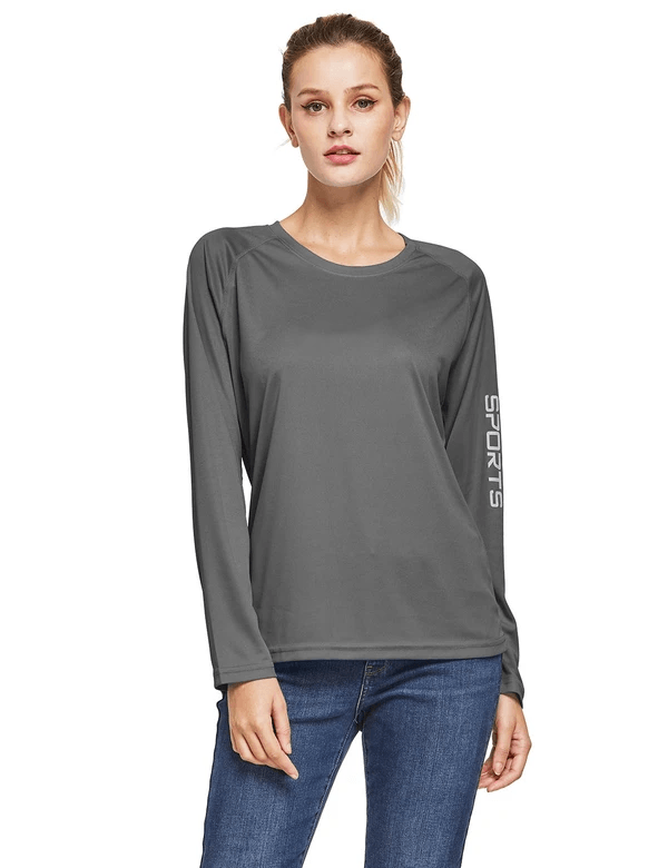 female upf50+ long sleeved round neck casual t-shirt age group adult Clothing baleaf Charcoal Gray S