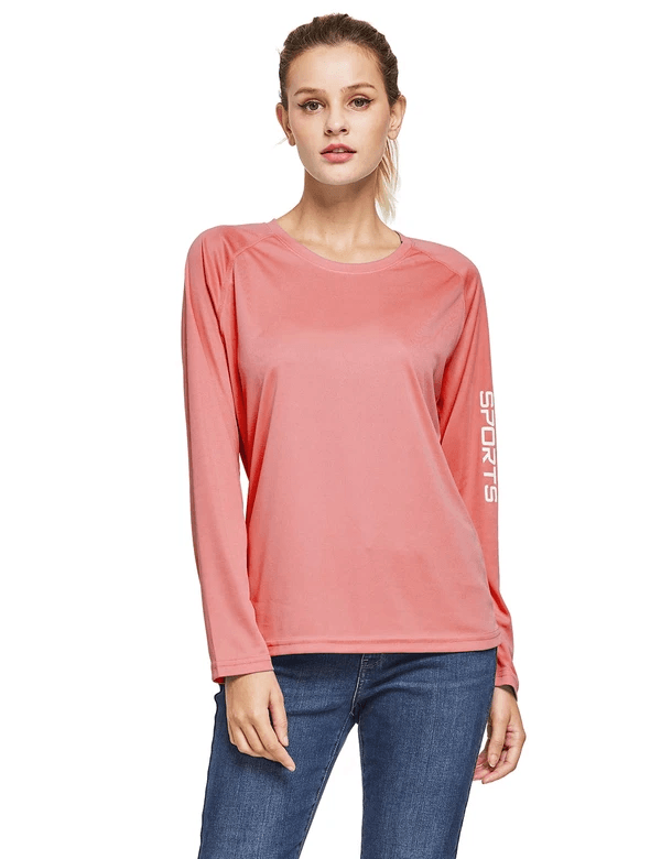 female upf50+ long sleeved round neck casual t-shirt age group adult Clothing baleaf Pink S