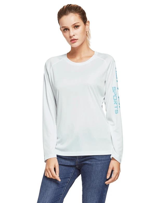 female upf50+ long sleeved round neck casual t-shirt age group adult Clothing baleaf White S