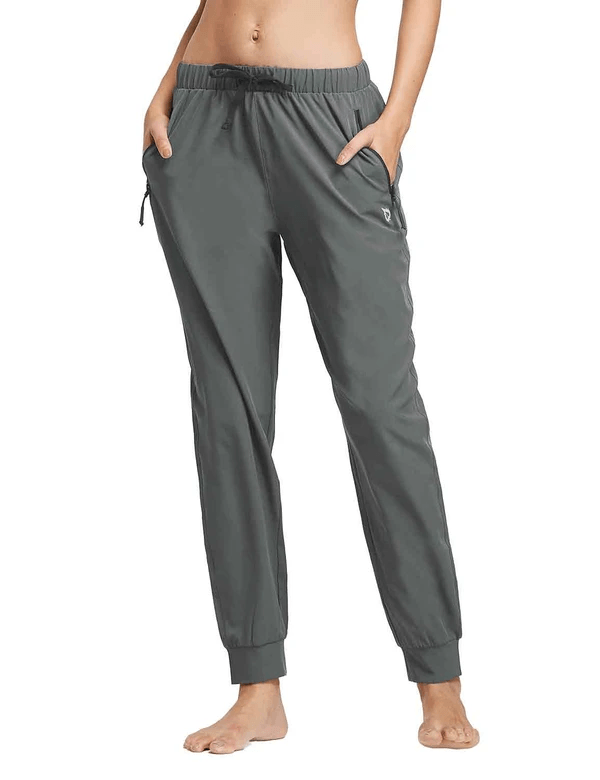 female upf50+ mid rise tapered & pocketed weekend sweatpants age group adult Clothing baleaf Gray XS