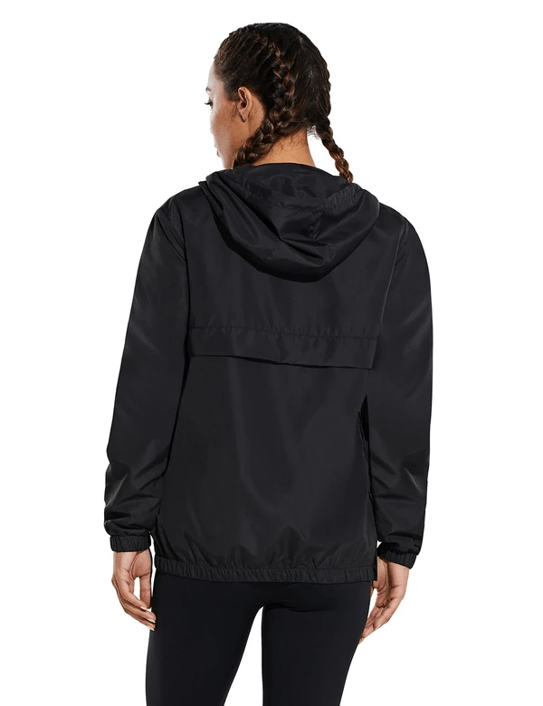 female water resistant half zip hooded windbreaker w kangaroo pocket age group adult Clothing baleaf