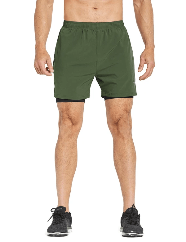 male 2-in-1 split leg back pocketed compression gym shorts age group adult Clothing baleaf Army Green/Black S