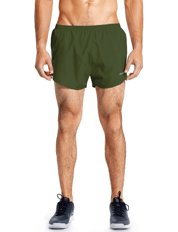 male 3'' 2-in-1 high cut mesh split-leg basic running shorts age group adult Clothing baleaf Army Green S
