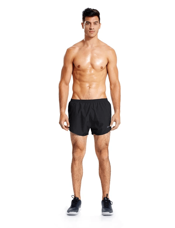 male 3'' 2-in-1 high cut mesh split-leg basic running shorts age group adult Clothing baleaf Black S