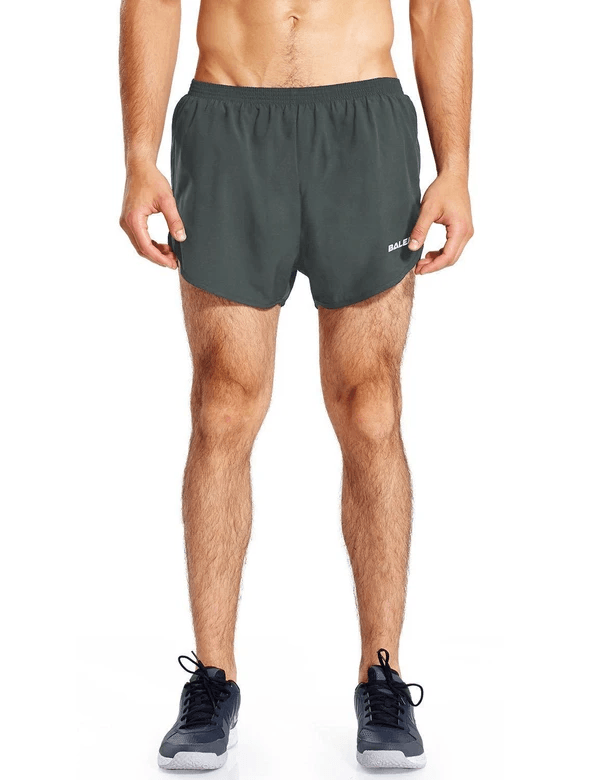 male 3'' 2-in-1 high cut mesh split-leg basic running shorts age group adult Clothing baleaf Gray S