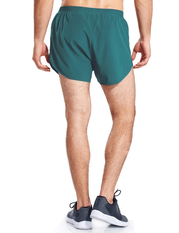 male 3'' 2-in-1 high cut mesh split-leg basic running shorts age group adult Clothing baleaf Teal S