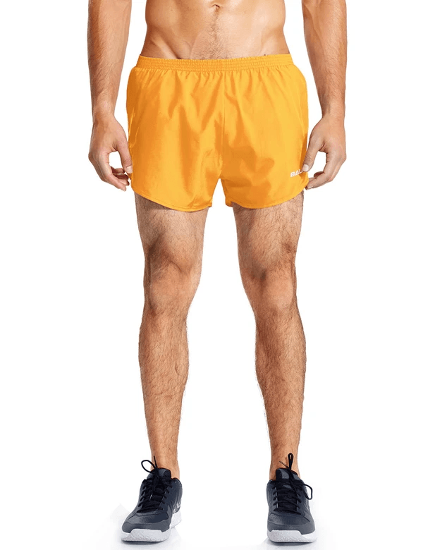 male 3'' 2-in-1 high cut mesh split-leg basic running shorts age group adult Clothing baleaf Yellow S
