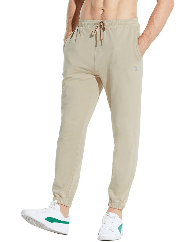 male basic comfy loose fit pocketed sweatpants age group adult Clothing baleaf Khaki S