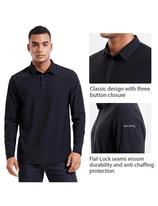 male evo upf 50+ quick dry collared long sleeved polo shirt age group adult Clothing baleaf