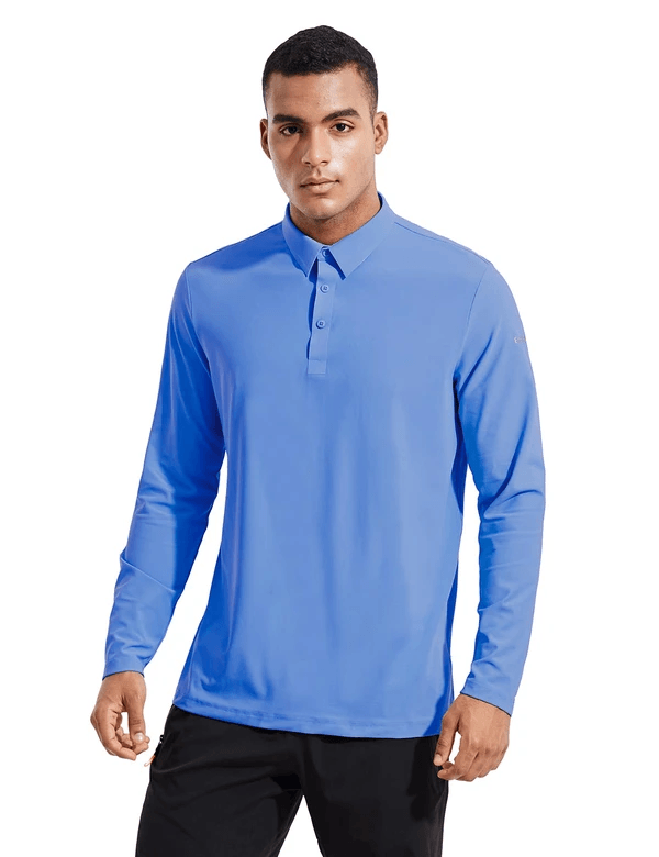 male evo upf 50+ quick dry collared long sleeved polo shirt age group adult Clothing baleaf Blue S