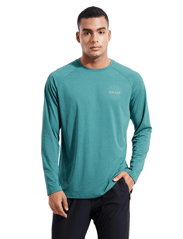 male evo upf 50+ quick dry raglan casual long sleeved shirt age group adult Clothing baleaf Mint Green S