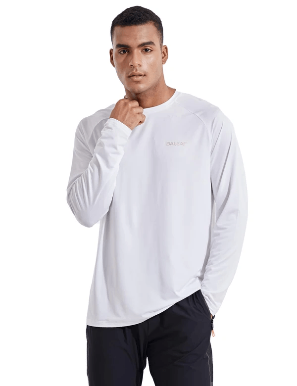 male evo upf 50+ quick dry raglan casual long sleeved shirt age group adult Clothing baleaf White S