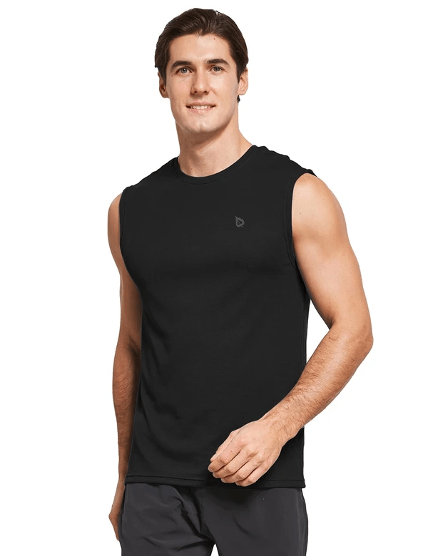 male quick dry loose fit workout & gym tank top age group adult Clothing baleaf Black S