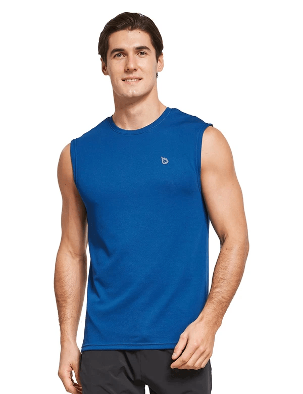 male quick dry loose fit workout & gym tank top age group adult Clothing baleaf Blue S