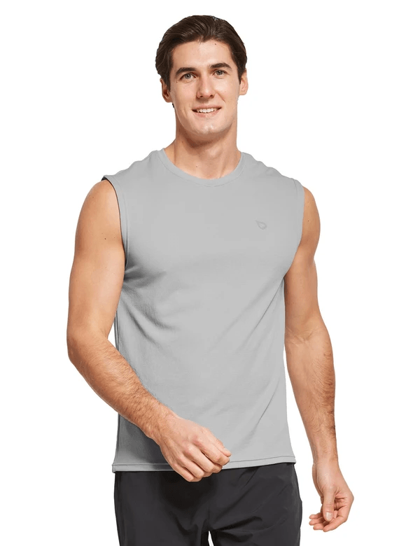 male quick dry loose fit workout & gym tank top age group adult Clothing baleaf Gray S