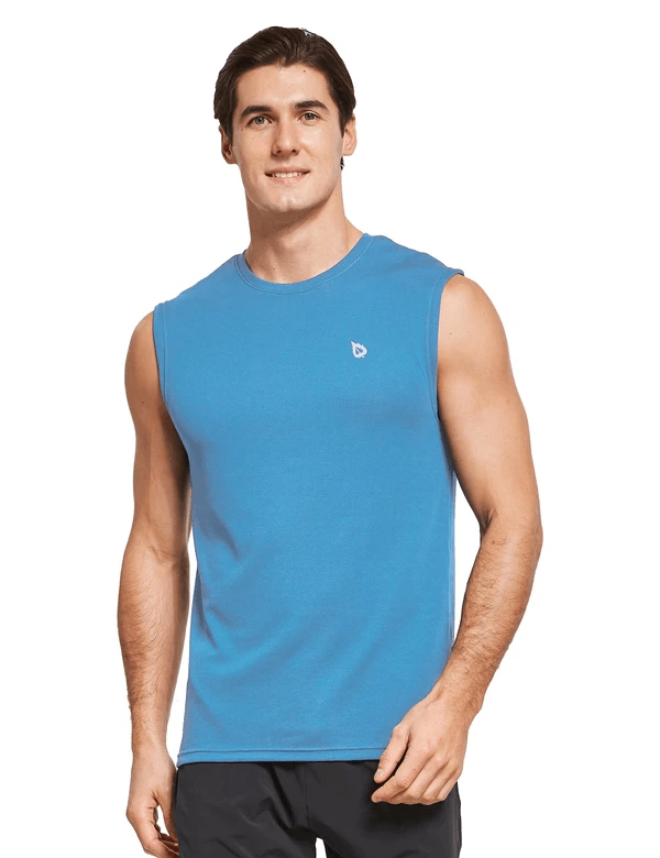 male quick dry loose fit workout & gym tank top age group adult Clothing baleaf Light Blue S