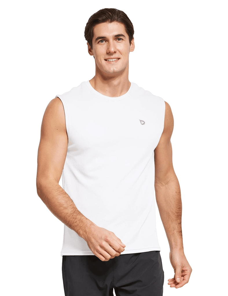 male quick dry loose fit workout & gym tank top age group adult Clothing baleaf White S