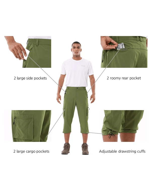 male upf 50+ sun protective water-resistant pocketed 3/4 capris pants age group adult Clothing baleaf