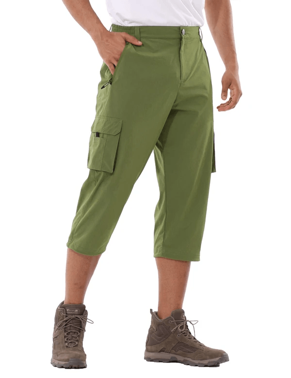 male upf 50+ sun protective water-resistant pocketed 3/4 capris pants age group adult Clothing baleaf Army Green S