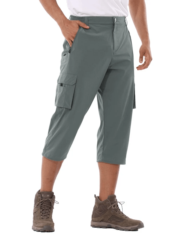 male upf 50+ sun protective water-resistant pocketed 3/4 capris pants age group adult Clothing baleaf Dark Gray S