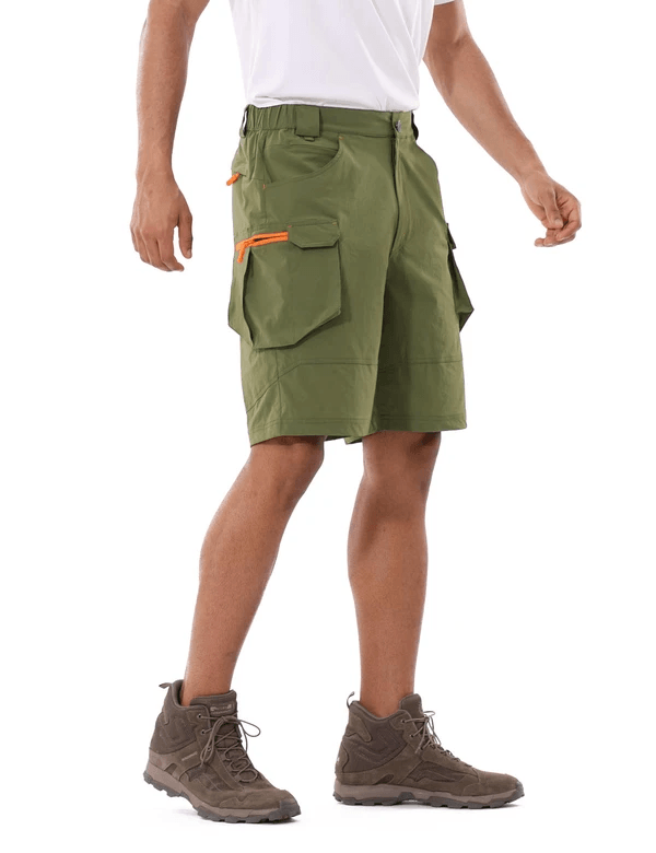 male upf 50+ water resistant multipocketed cargo shorts age group adult Clothing baleaf Army Green S