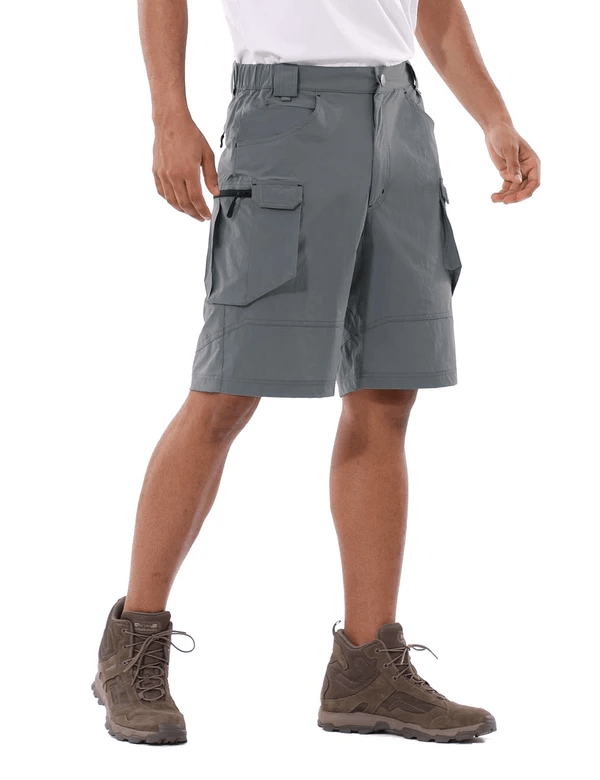 male upf 50+ water resistant multipocketed cargo shorts age group adult Clothing baleaf Dark Gray S