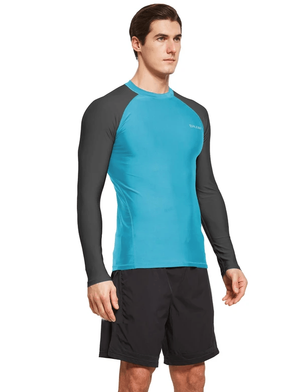 male upf50+ long sleeve rash guard outdoor beach outdoor & surfer shirtsage group adult Clothing baleaf