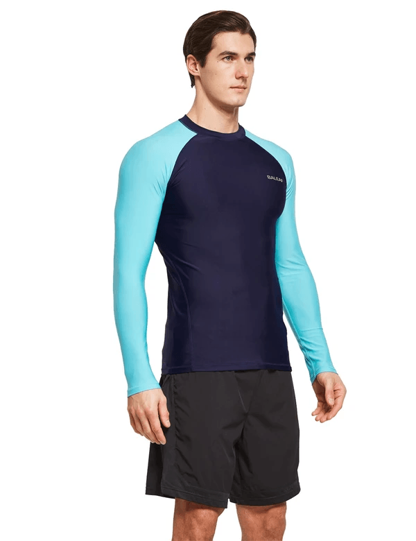 male upf50+ long sleeve rash guard outdoor beach outdoor & surfer shirtsage group adult Clothing baleaf Black/Blue S