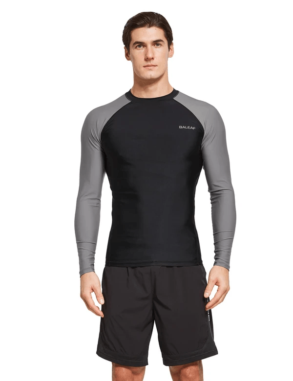 male upf50+ long sleeve rash guard outdoor beach outdoor & surfer shirtsage group adult Clothing baleaf Black/Gray S