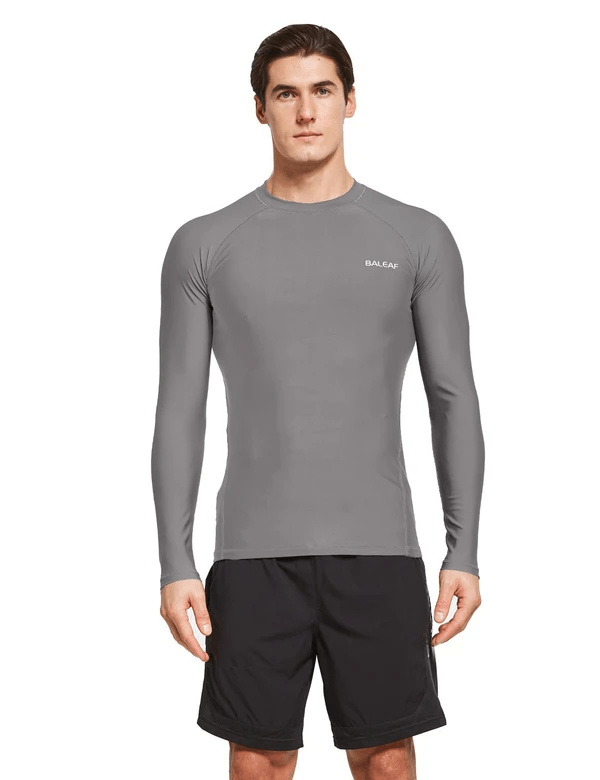 male upf50+ long sleeve rash guard outdoor beach outdoor & surfer shirtsage group adult Clothing baleaf Gray S