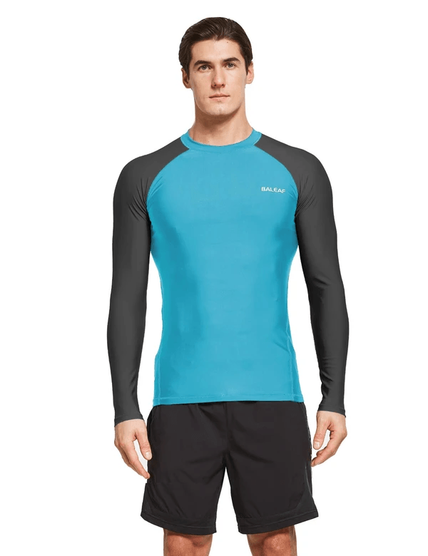 male upf50+ long sleeve rash guard outdoor beach outdoor & surfer shirtsage group adult Clothing baleaf Navy Blue/Blue S