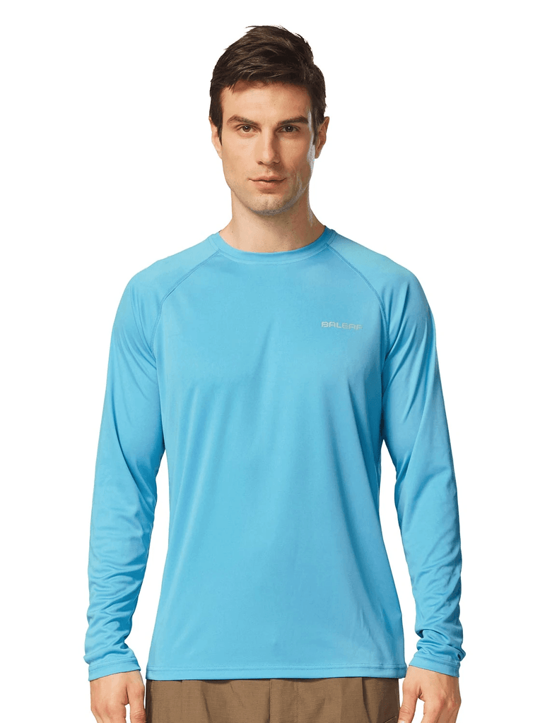 male upf50+ long sleeved loose fit casual t-shirt age group adult Clothing baleaf Blue S
