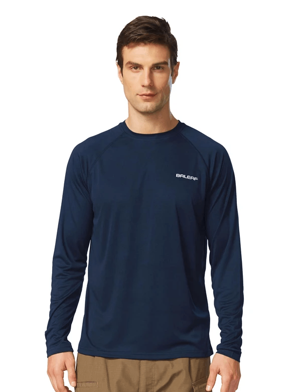 male upf50+ long sleeved loose fit casual t-shirt age group adult Clothing baleaf Dark Blue S