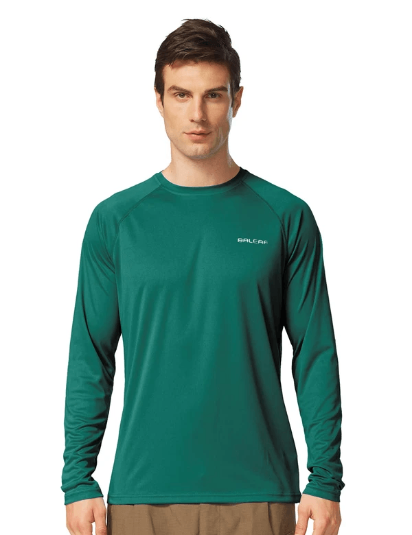 male upf50+ long sleeved loose fit casual t-shirt age group adult Clothing baleaf Emerald S