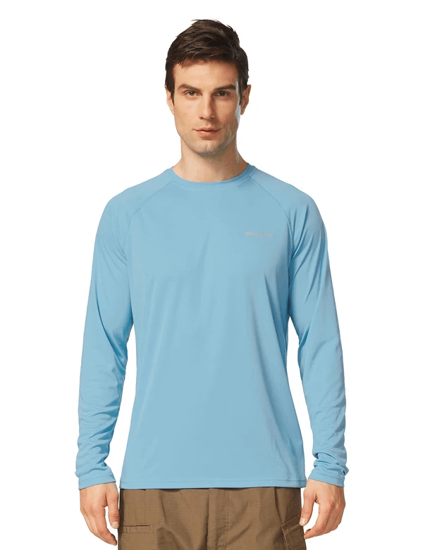male upf50+ long sleeved loose fit casual t-shirt age group adult Clothing baleaf Light Blue S