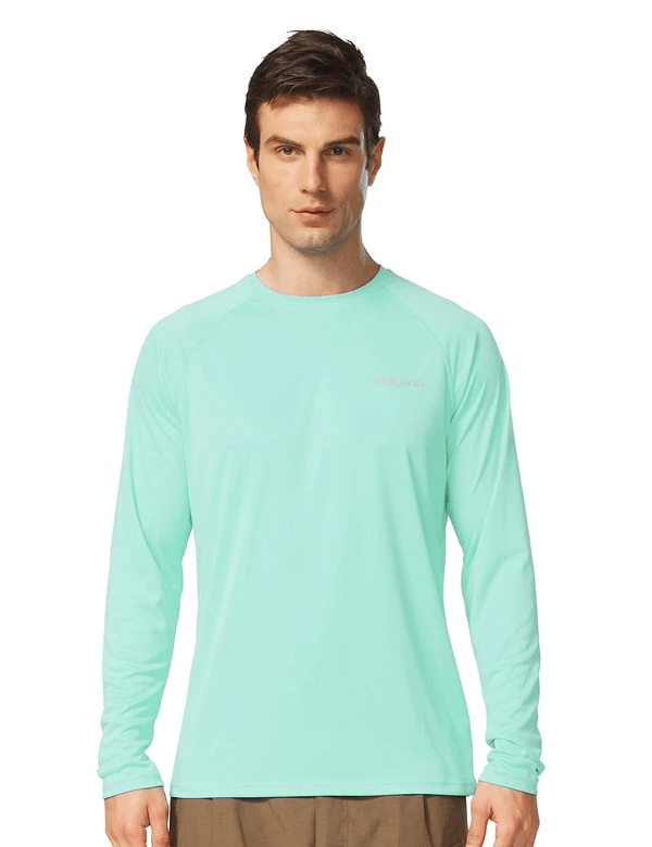 male upf50+ long sleeved loose fit casual t-shirt age group adult Clothing baleaf Light Green S