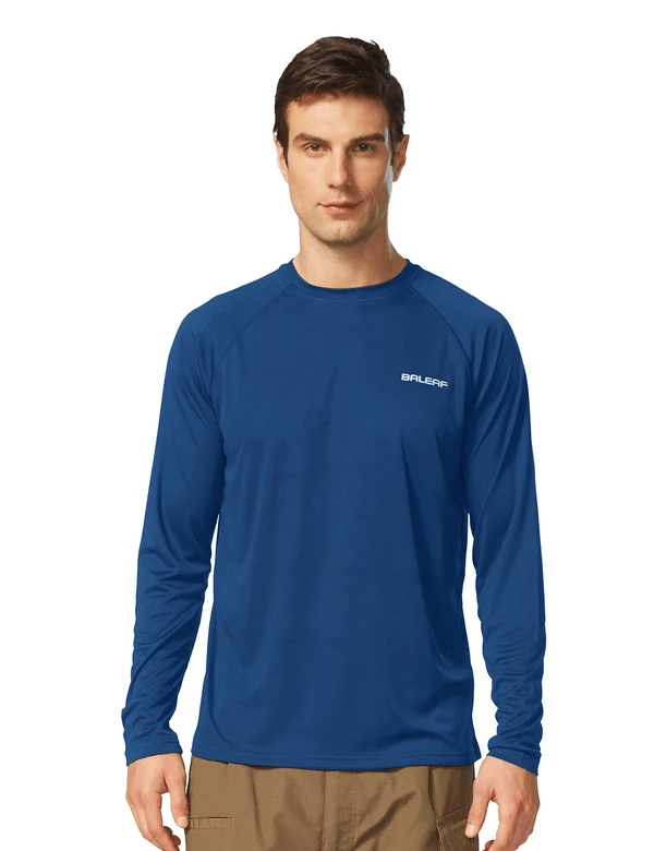 male upf50+ long sleeved loose fit casual t-shirt age group adult Clothing baleaf Ocean Blue S