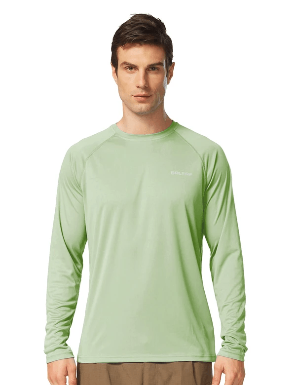 male upf50+ long sleeved loose fit casual t-shirt age group adult Clothing baleaf Pale Green S