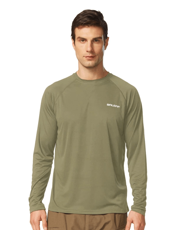 male upf50+ long sleeved loose fit casual t-shirt age group adult Clothing baleaf Slate Green S