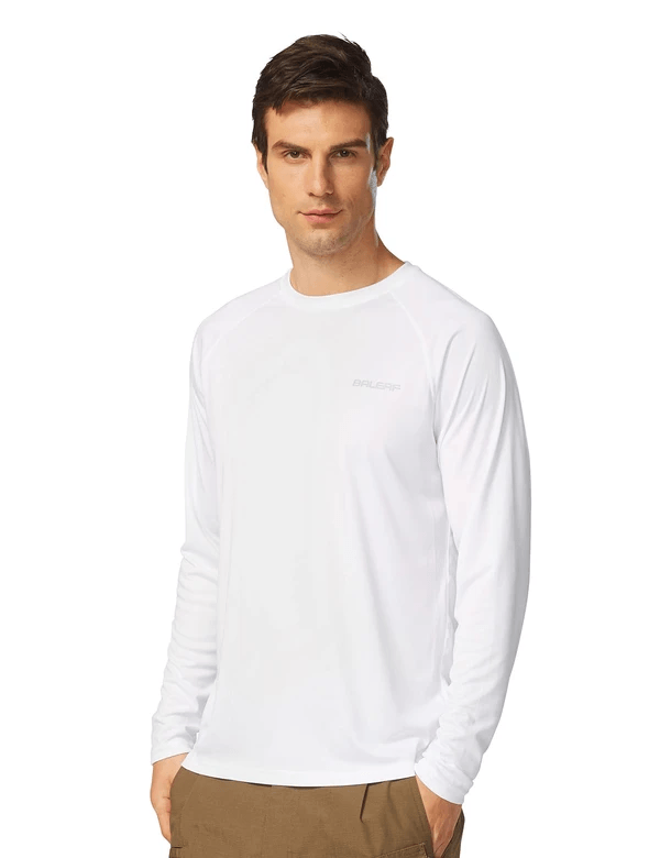 male upf50+ long sleeved loose fit casual t-shirt age group adult Clothing baleaf White S