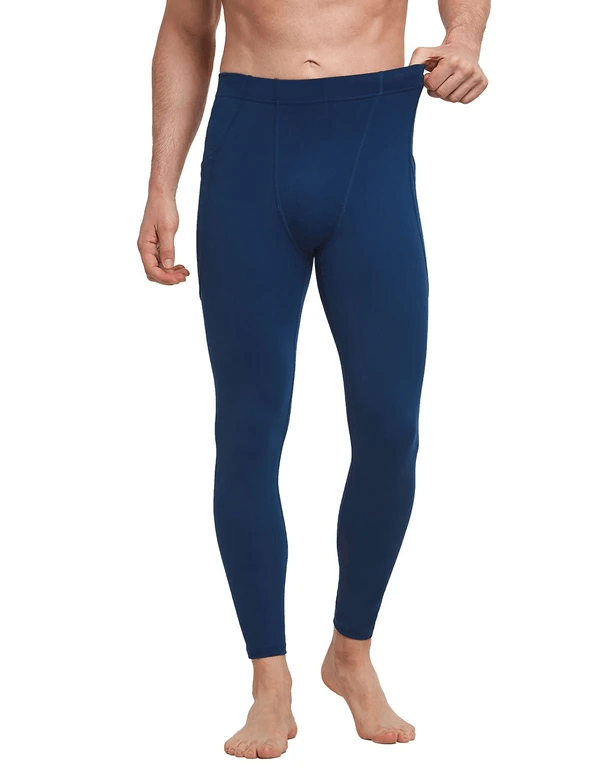 Mid-Rise Side Pocketed Gym & Yoga Compression Tights Clothing Lightones Navy S