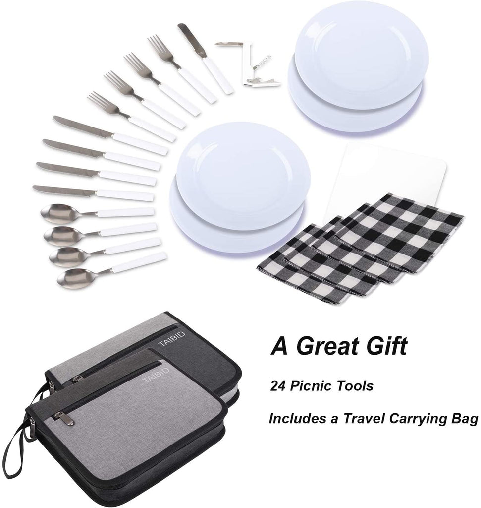 picnic set camping silverware cutlery organizer 4 person dinnerware set - 24pcs eating utensils set with eco-friendly ps plate spoon & butter knife wine opener fork napkin age group adult Bag Taibid