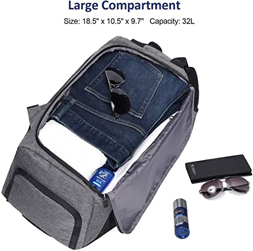 taibid 3-way 18 inch sports gym bag backpack with wet pocket and shoe compartment travel duffel bag for men and women, grey age group adult Bag Taibid