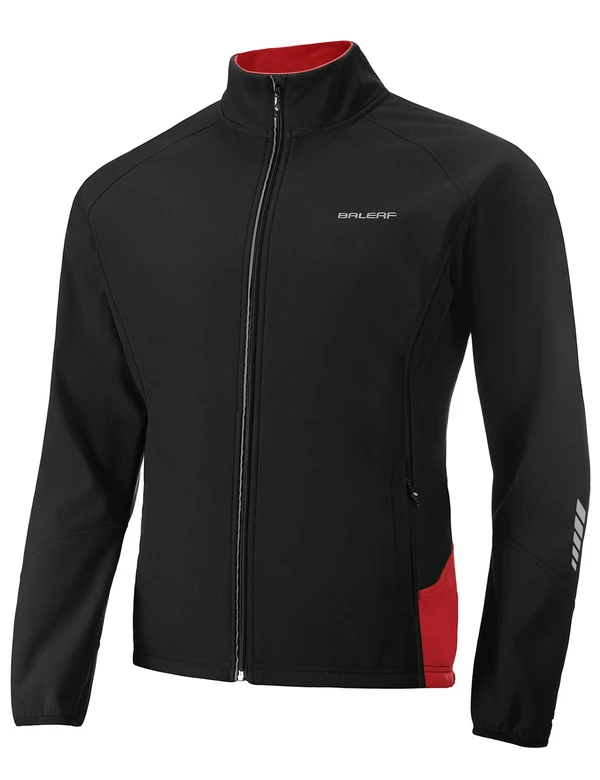 unisex fleece lined wind- & waterproof collared thermal track jacket age group adult LightoneSport Black-Red S