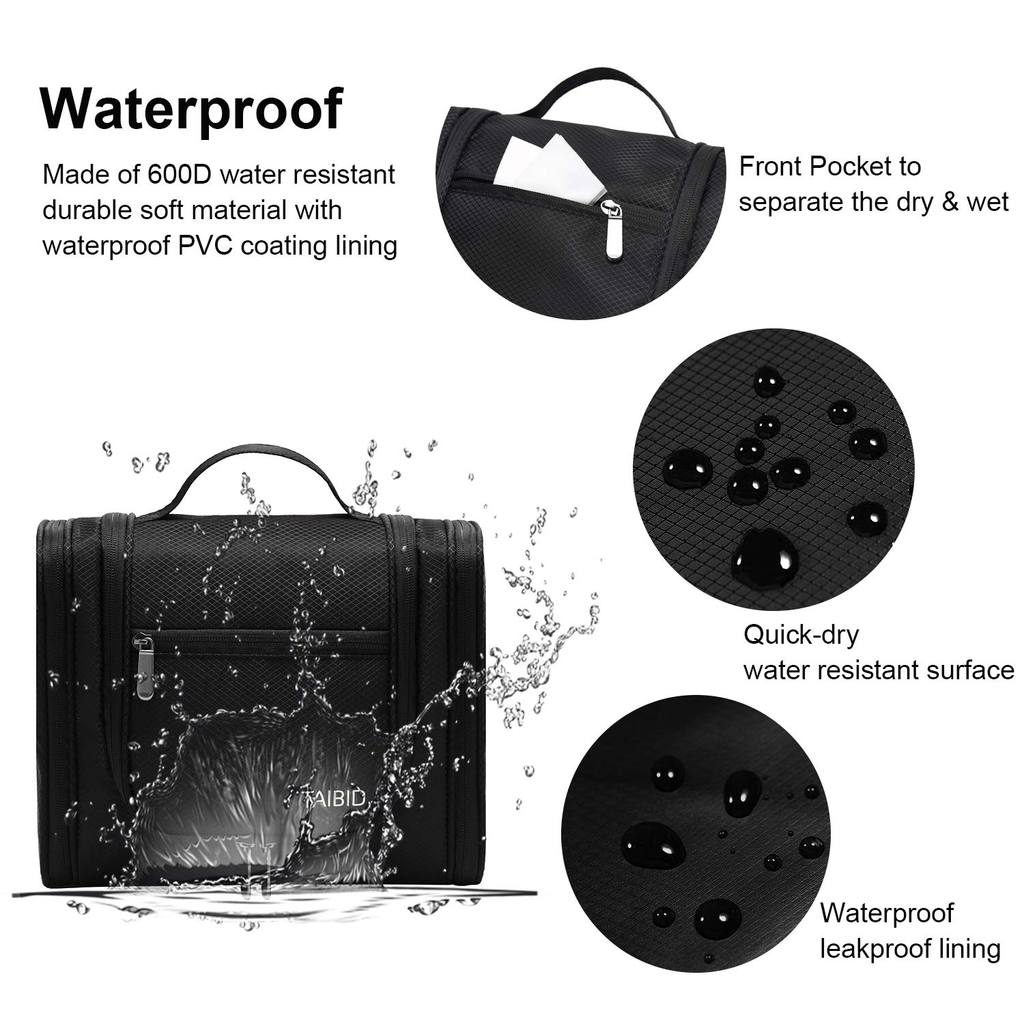 unisex taibid large hanging travel toiletry bag for men and women waterproof makeup organizer bags wash bag shaving kit cosmetic bag for accessories, shampoo,bathroom shower, personal items black age group adult Bag baleaf