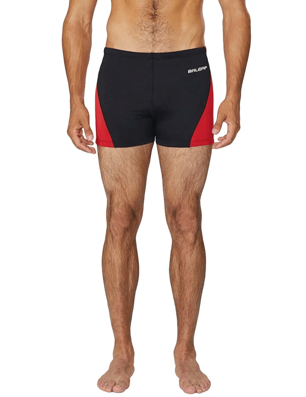 unisex upf50+ durable skin tight compression swim trunks age group adult Clothing Lightones Black/Red XS