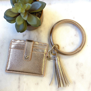 Cardholder w/ Keyring Bangle & Tassel- Rose Gold