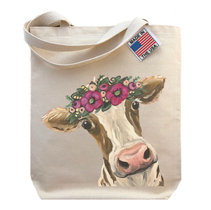 Cow with Flowers Tote Bag, 'Miss Moo Moo'