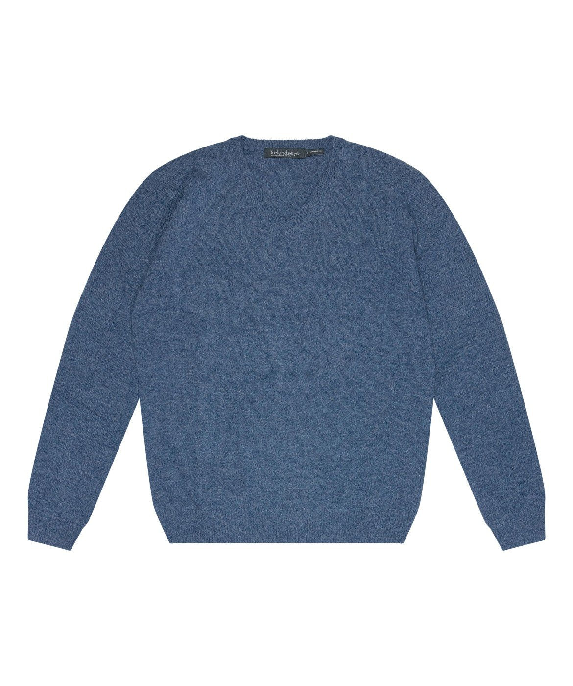 Easy Care V Neck Wool Sweater Blue-Stone