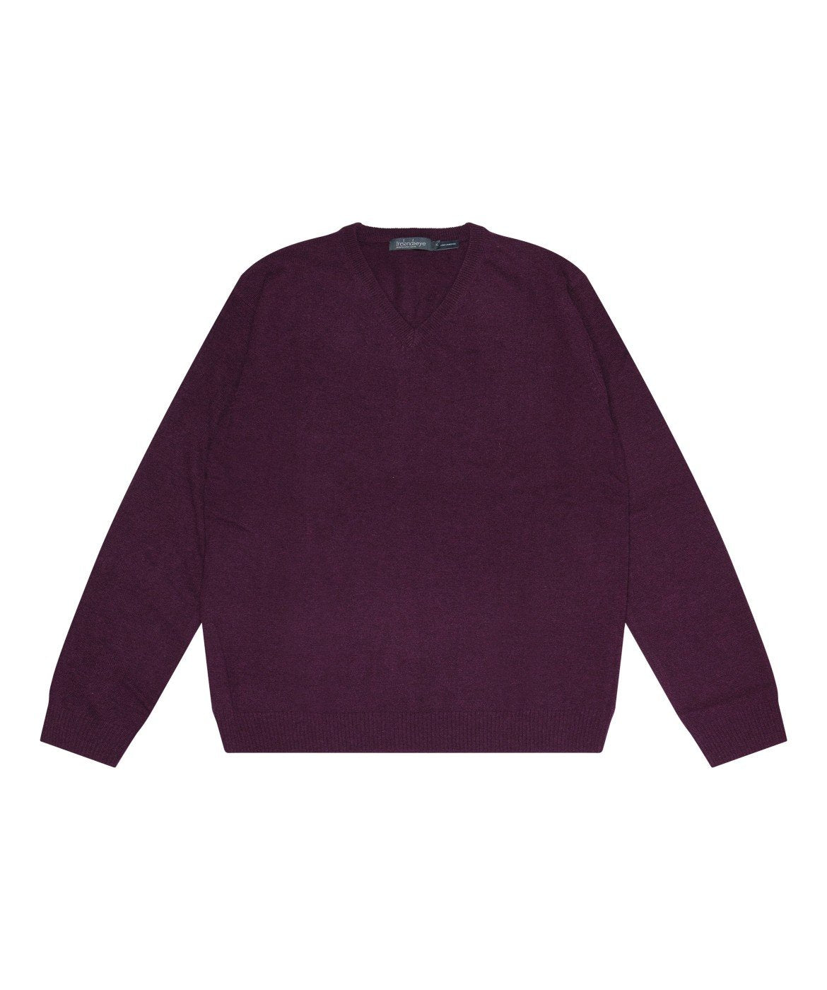 Easy Care V Neck Wool Sweater Burgundy